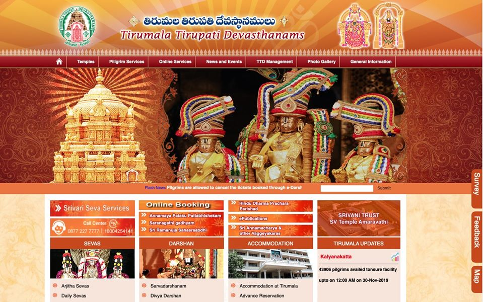 Introduced New Portal for TTD Srivari Arjita Seva and Darshan Tickets